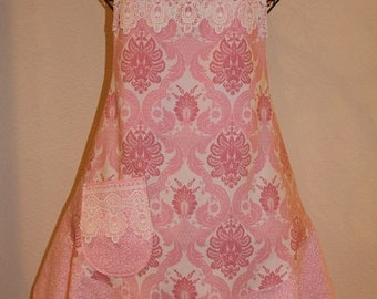 Women's Pink and Pretty Apron with Lace Trim