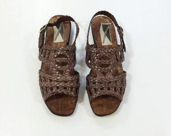 sale 70s CAGE Sandals Desert Gladiator size 8 Boho Hippie 38 Jesus Sandals Plastic FESTIVAL Bohemian ROPE uk 6 Slingback Strappy Flat Sandal