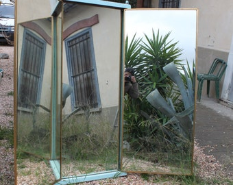 Antique mirror: French mirror, triptych mirror, French BROT mirror, antique mirror