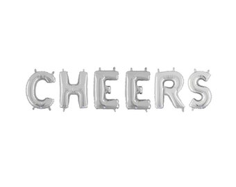 Cheers Letter Balloons, Silver Cheers Letter Balloons, Silver Letter Balloons, Silver Party Balloons, Silver Party Decorations