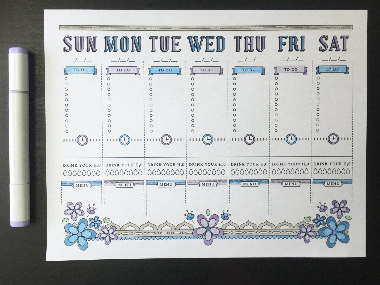 Calendar Planner Journal : A printable planner page weekly calendar template bullet