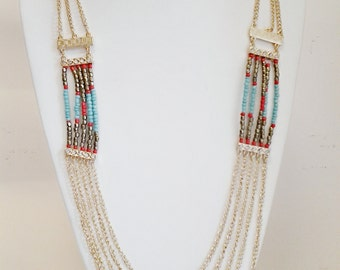 Gold Chain Multi Strand Necklace / Teal, Coral and Bronze Beaded Necklace /  Multi Strand Long Necklace.