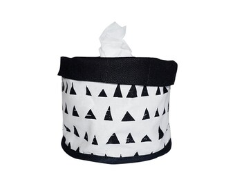 Soft Pot, Fabric Bucket ,Triangles pattern, Grid pattern, Black and white,  100% Cotton, Nordic design, Scandinavian style,