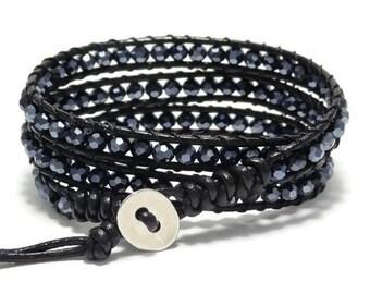 Wrap Bracelet, Leather Bracelet, Beaded Bracelet, Bohemian Bracelet, Crystal Bracelet, Black Bracelet, Leather Jewelry, Triple Wrap Bracelet