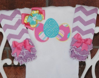 Customize It! Baby girl first Easter outfit with custom saying or name! Easter eggs in pink, blue, and purple with leg warmers and hair bow