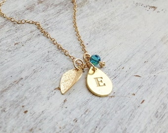 Initial necklace,gold initial necklace,personalized necklace,personalized initial necklace,bridesmaid gift - B019