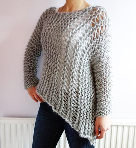 Knitting Pattern Funky Bulky Asymmetrical Sweater Loose