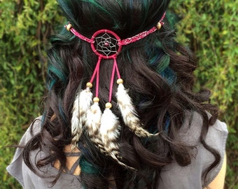 Dreamcatcher Feather Headband - Red Silver Dreamcatcher - Natural Feathers - Festival Headband -  Burning Man - Ultra - EDC