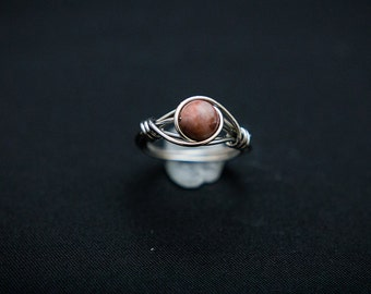 Red Jasper Wire Wrap Ring