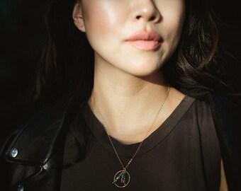 Cosmos Gemstone Charm Necklace- Gold