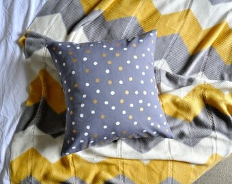 Polka Dot Cushion Cover, Throw Pillow Cover, Throw Cushion Cover, Decorative Cushion Cover, Decorative Pillow Cover - Grey, Gold, White