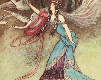 """Warwick Goble """"Changed into Swans"""" 1913 Reproduction Digital Print Swans Fairy Queen"""