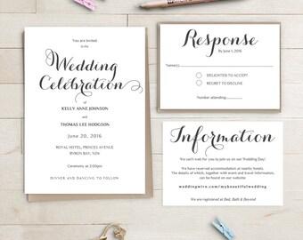 Printable Wedding Invitation Suite | Byron | Invitation RSVP and Info Template | Editable Word .doc template