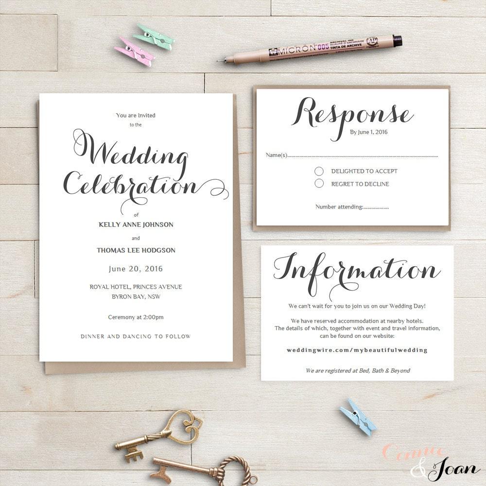 Printable Wedding Invitation Suite Byron Invitation RSVP