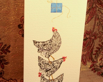 Three French Hens Tower Christmas Card (Hand Painted)