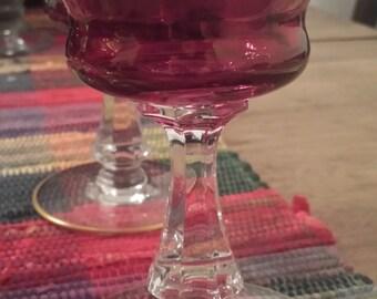 Antique Ruby Red Flash Glasses, Gold Trim with Pedestal-6 Total-Elegant 1940s D452