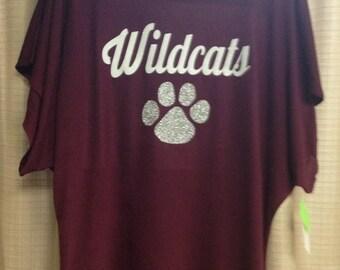 Destrehan Wildcats dolman sleeve shirt