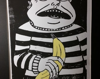 Block Print, Linocut, Love Thy Banana, Limited Edition Print