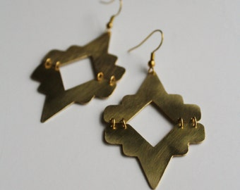 Maya Earrings - Raw brass articulated / linked 2 part earrings