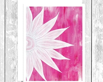 "NOTECARD: Pure Bliss - White Daisy on Pink, White Daisy 4.25"" x 5.5"" A2 Greeting Card, Gift for Her, Gift for Friend, Gift for Flower Lover"
