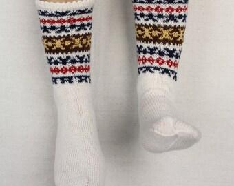Knitted socks White socks Winter traditional socks Boot socks Long socks Fair isle socks Foot wear Elegant socks Gift for Mother gift size 7