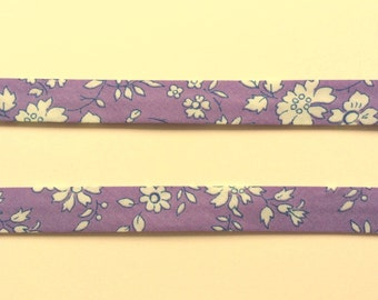 Capel V Liberty Bias Binding Tape tana lawn purple lilac white The Weavers Mill