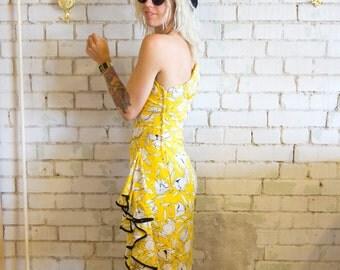 Dress For Success Morton Myles 80s Fab Garden Party Vintage Dress