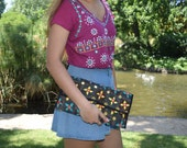 Black handmade Indian clutch bag