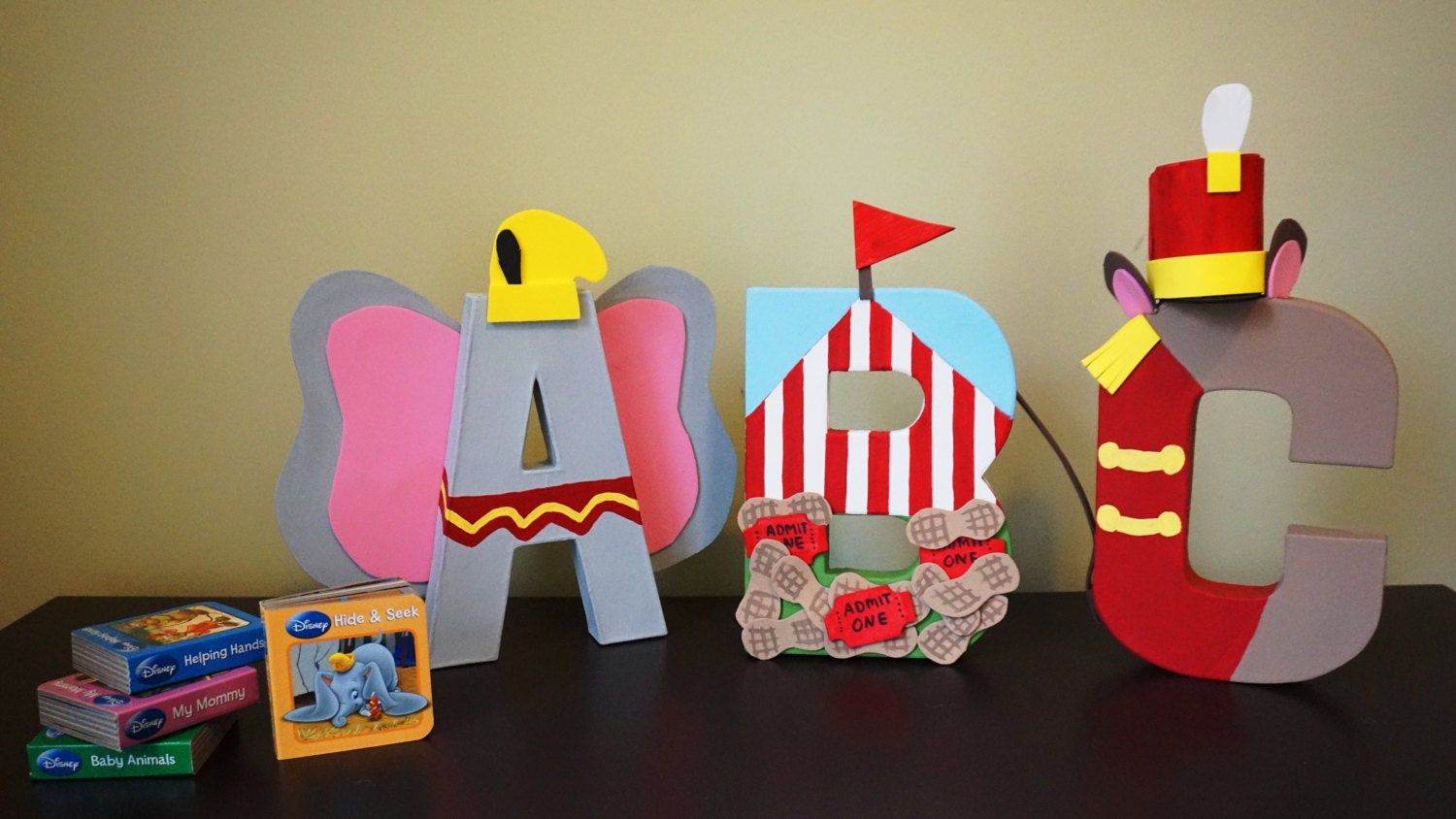 dumbo inspired custom 8 inch paper mache letters
