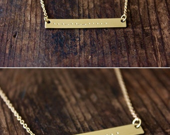 Morse Code Necklace / Secret Message Gold Bar Necklace / Hand Stamped Morse Code / Personalized Gold Bar Necklace / Simple Everyday Necklace