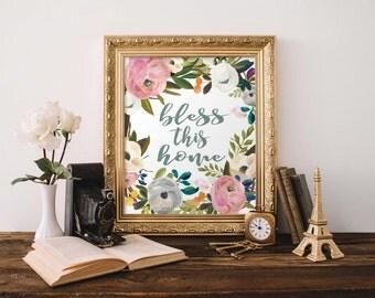 Bless This Home print, Printable wall art print, printable art, home decor, watercolor print, calligraphy typographic print, digital