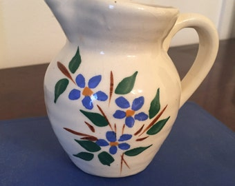Vintage White Ceramic Floral Pitcher with Hand Painted Blue Flowers
