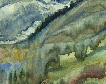 Hills and Flowers , Abstract Watercolour Painting, Original Artwork