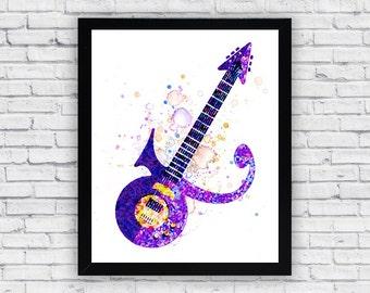 Prince Guitar Watercolor print, Printable Wall Art, wall decor, home decor