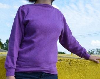 Vintage square neck purple sweatshirt