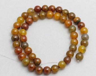 47Pcs Brown Agate Beads, Gemstone Beads, Full Strand, Natural Jewelry Beads,sku/MRY11