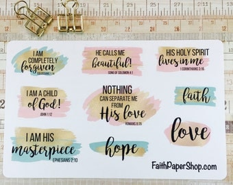 Christian Planner Stickers Scripture Stickers, Bible Journaling, Happy Planner, Erin Condren, ECLP, MAMBI, Illustrated Faith, Bible Verse