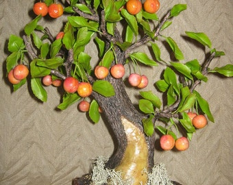 bonsai tree handmade, Bonsai clay, bonsai, cherry tree, the tree of clay, clay flowers, polymer clay, cold porcelain