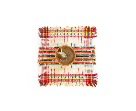 vintage woven placemat small square table linens by