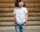 T-shirt for boy and girl's rain - kids t-shirt organic cotton printed drops - illustration of drops summer Jersey