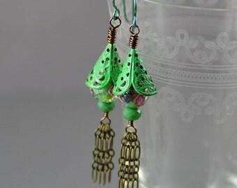 Hand-painted Green Patina Antiqued Brass Rose Flower Crystal Dangle Tassel Earrings