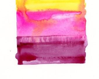 "Original abstract watercolor painting: ""Desert Sunset"""