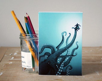 Giant Octopus Notebook - Jotter - Unlined Notebook - A6