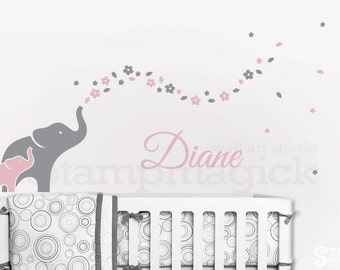 Elephants Wall Decal - Nursery Wall Decor - Elephants Decal - Elephant Wall Art - Flowers & Baby Name - vinyl sticker girl bedroom - K344