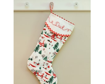 """Christmas Stocking, Quilted Christmas Stocking, White Christmas Stocking, Red Gingham, Monogrammed Christmas Stocking 21"""""""