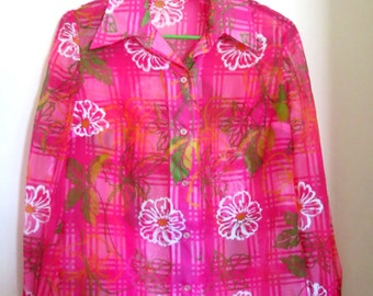 SALE - Vintage Chiffon Blouse - Handmade - Women's - Well Made - Size Lg. - Retro - Pink Top - Clothing - Apparel