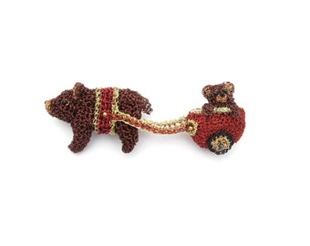 Cute animal brooch, bear and cub - bear jewelry, bear pin, double brooch, sweet animal pin, quirky jewelry, bear collectible, animal art