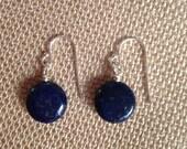 Genuine Lapis Earrings, Sterling Silver Earwires, Nautical Navy Blue Earrings, Round Coin Earrings Minimal Kate Middleton Earrings
