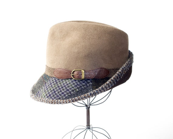 Gift For Him- Wool Plaid Hat For Men- Men's Hat- Patchwork Hat- Fedora Hat For Men- Wool Hat- Winter Style- Winter Accessories- Winter Hat