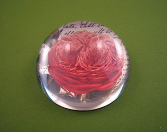 June Birthday Gift, Rose Paperweight, Mother's Day Gift, Bernard Red Rose, Dome Paperweight, Script Paperweight, Medium Dome, Floral Decor